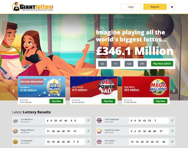 Giant Lottos Review Home Screenshot